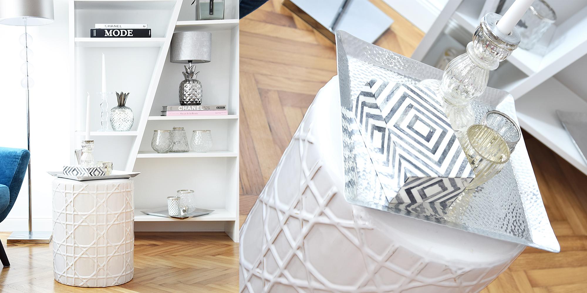 Allrounder: Weißer Keramik-Hocker
