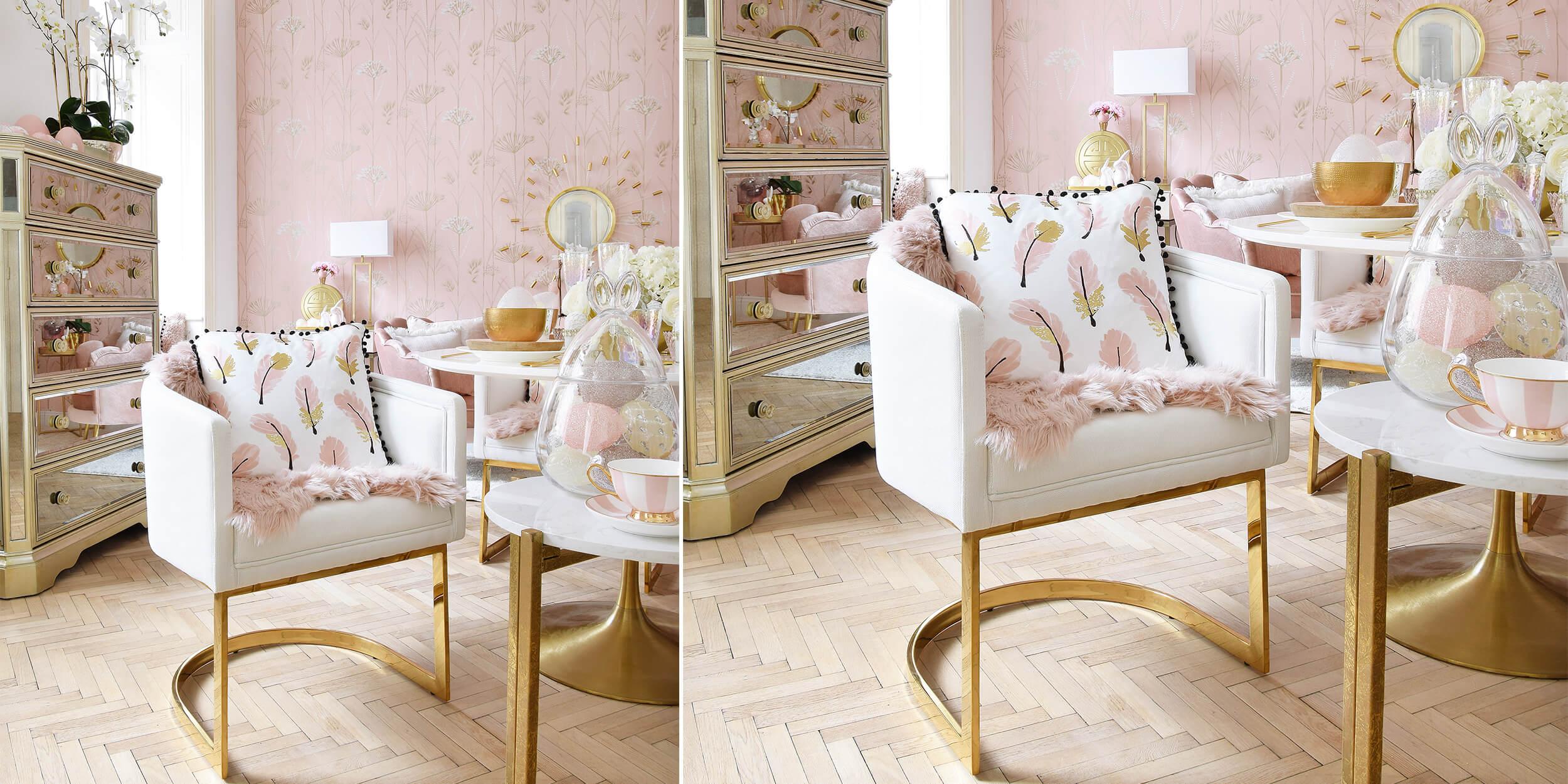 Stylish & Gemütlich - Armlehnsessel in Weiß & Gold