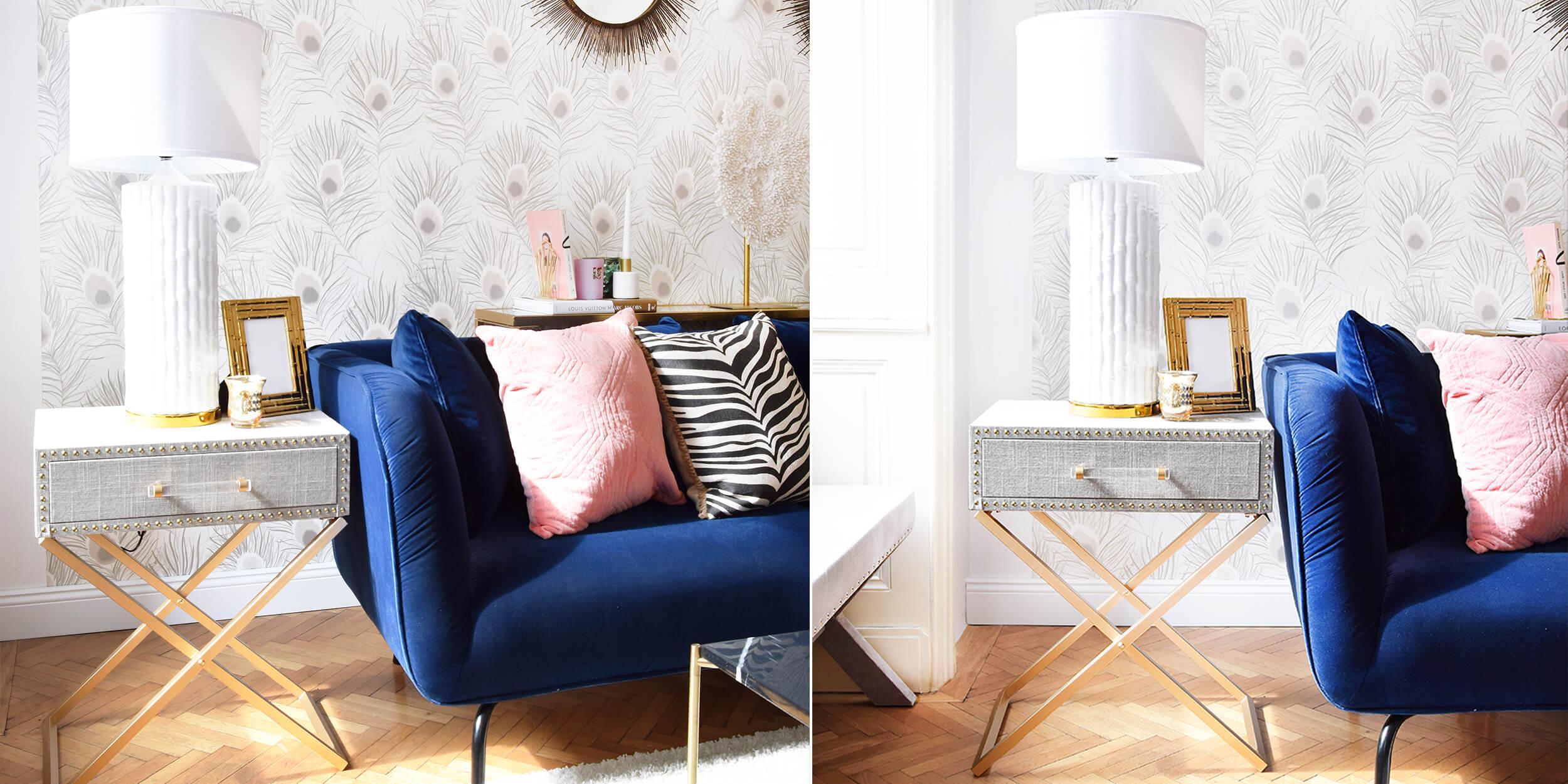 Stylish & Praktisch: Tischchen mit Schublade & goldenen Details