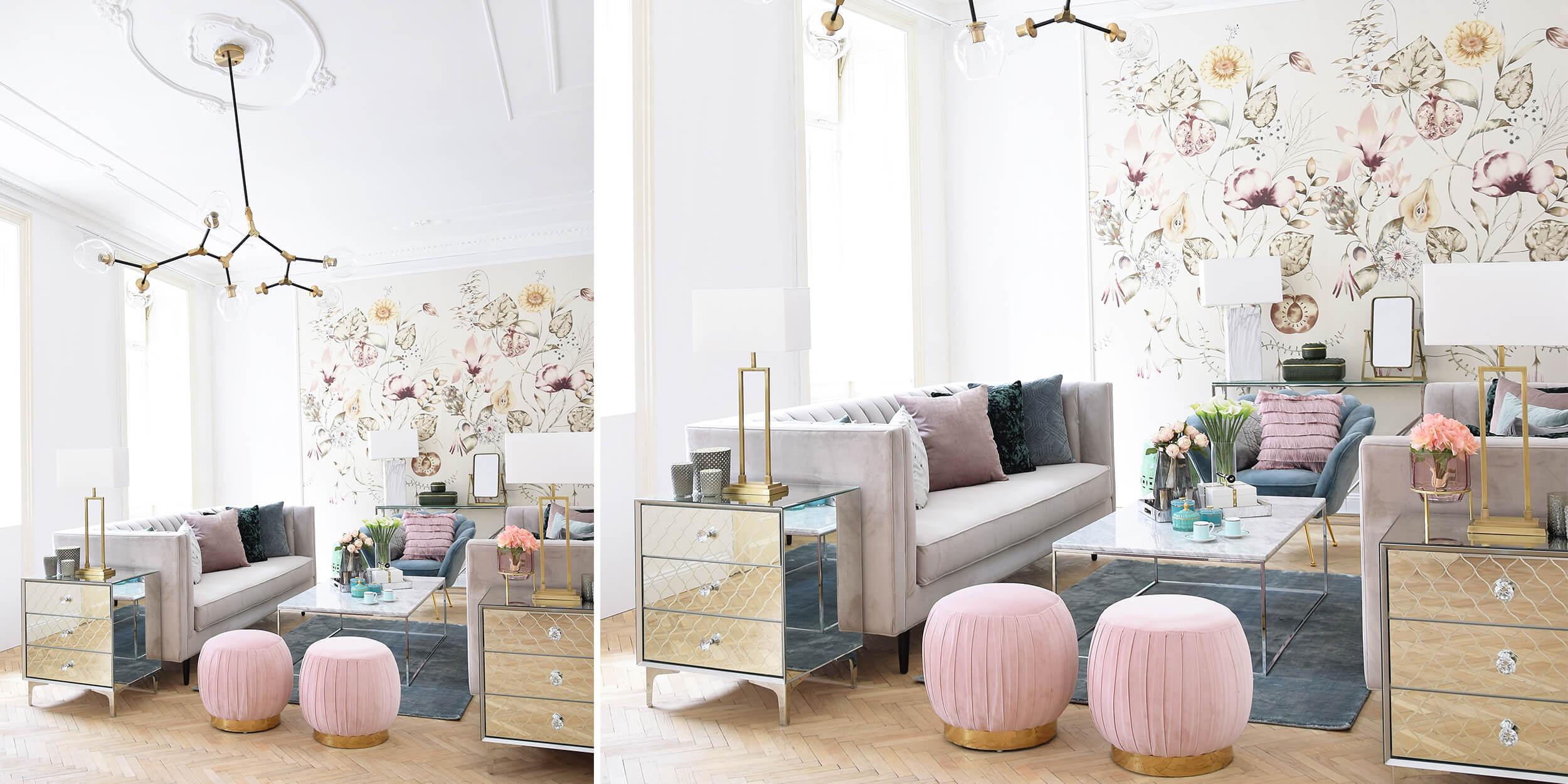 trendig in Samt! Sofa, Muschelsessel & Pouf