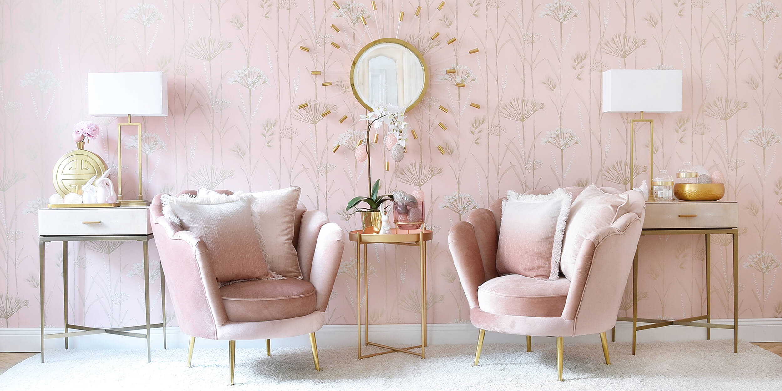 Velvet-Lounge aus rosa Muschelsesseln