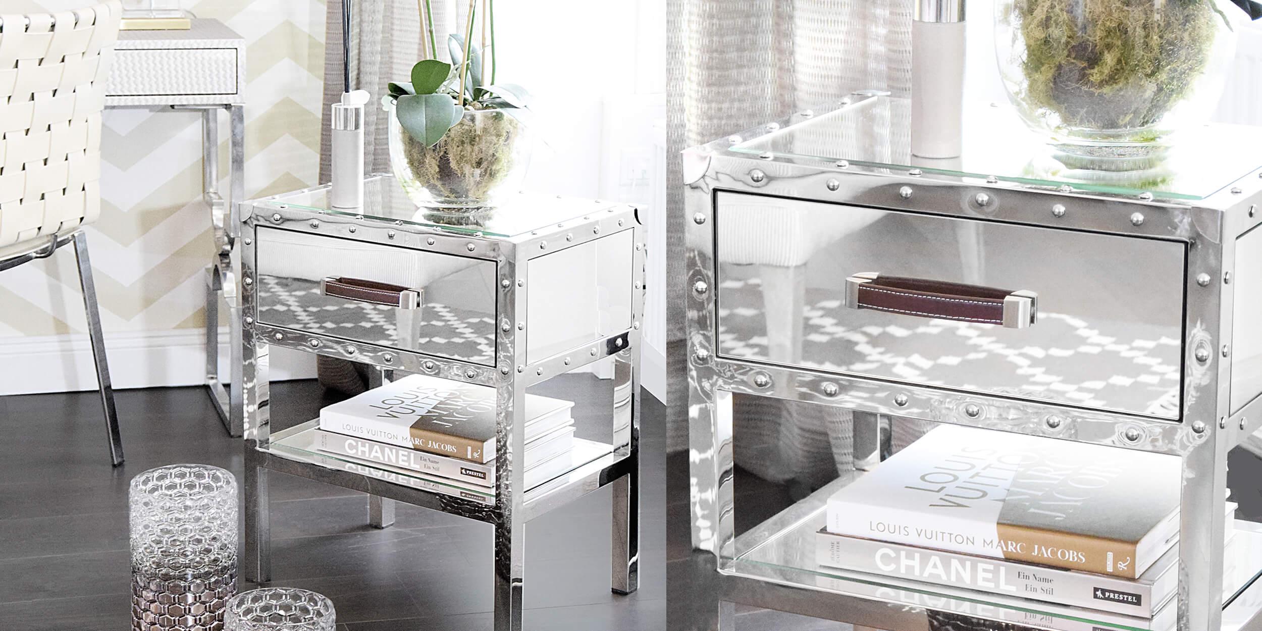 verspiegelter Nachttisch im trendigen Koffer-Style