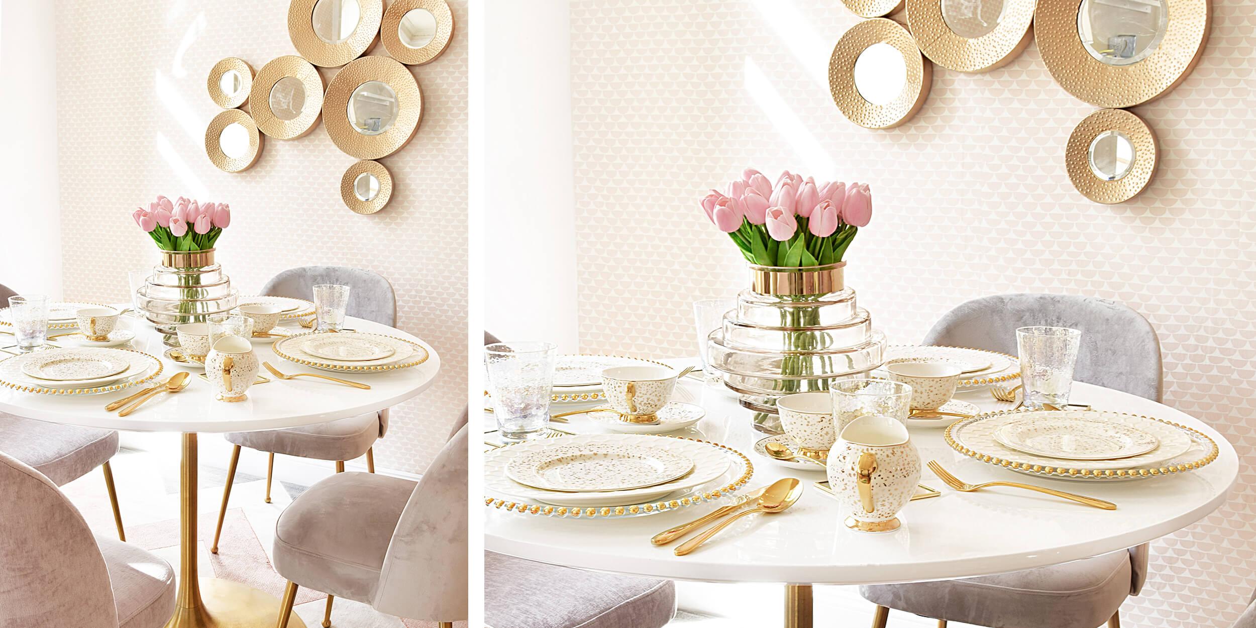 Weekend-Brunch - Tafel in Gold & Pastelltönen
