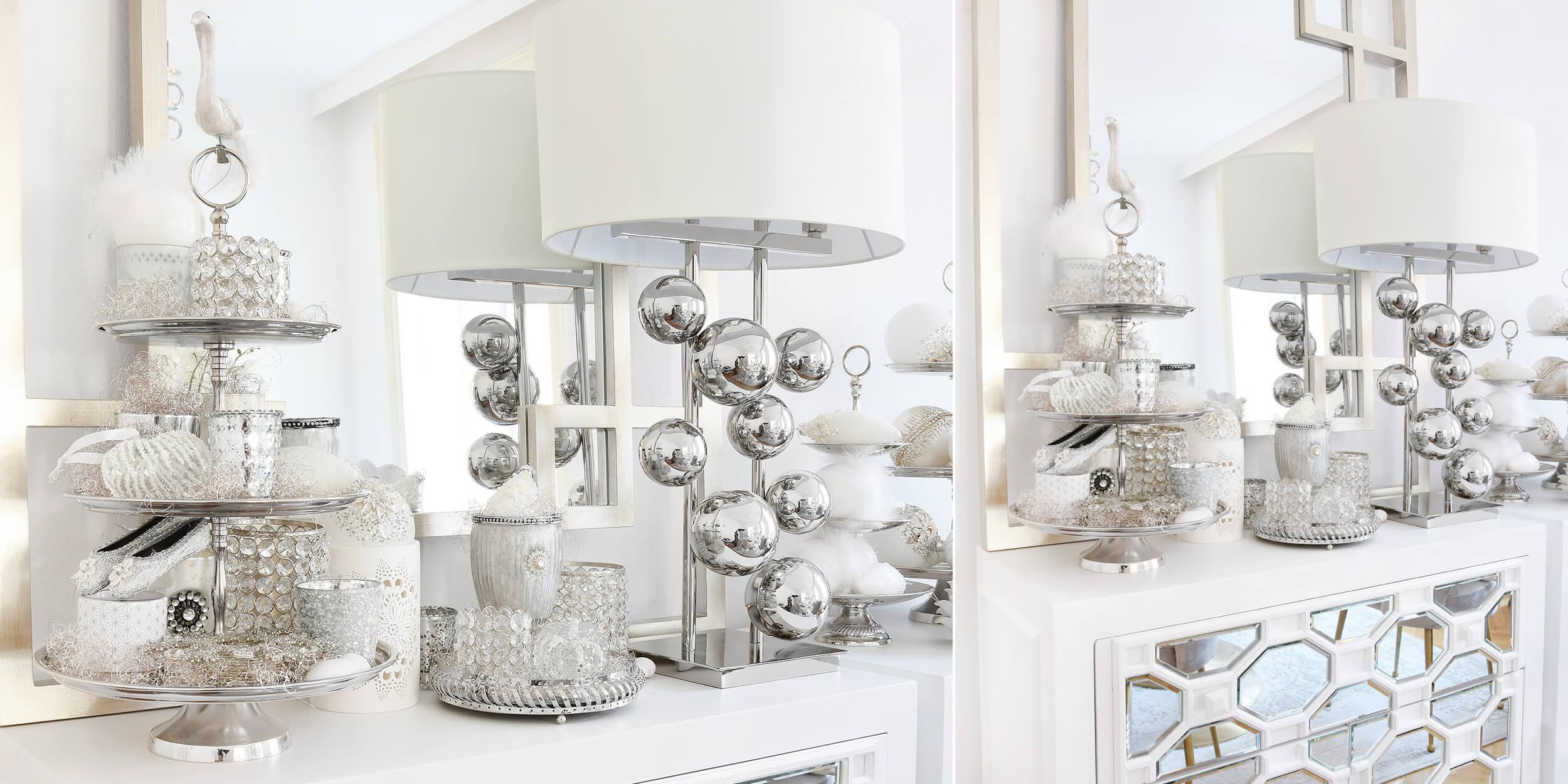 Weihnachtsdeko In Silber Und Weiß.Weihnachtliche Teelichtgläser