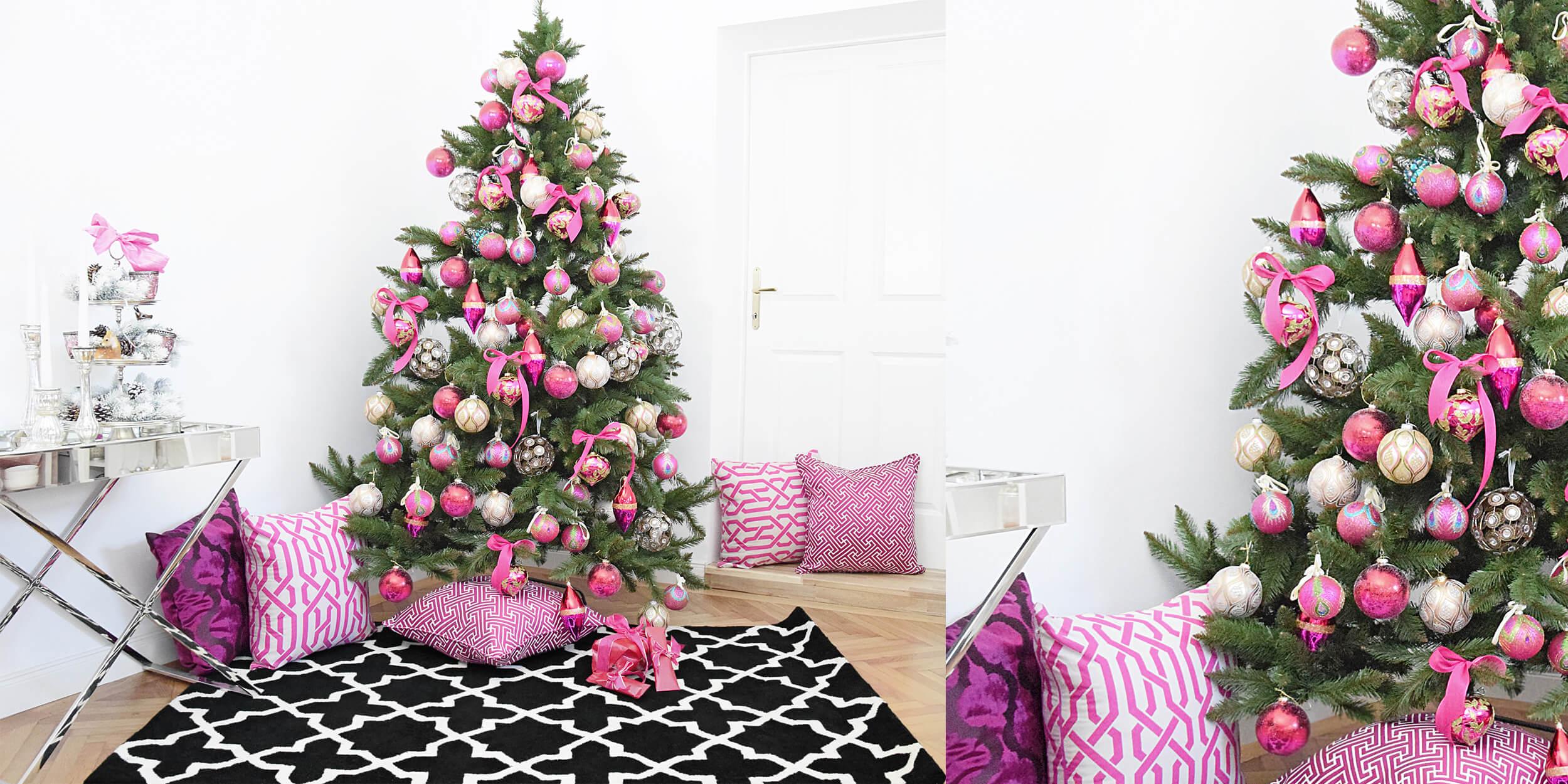 Weihnachtslook in sattem Pink