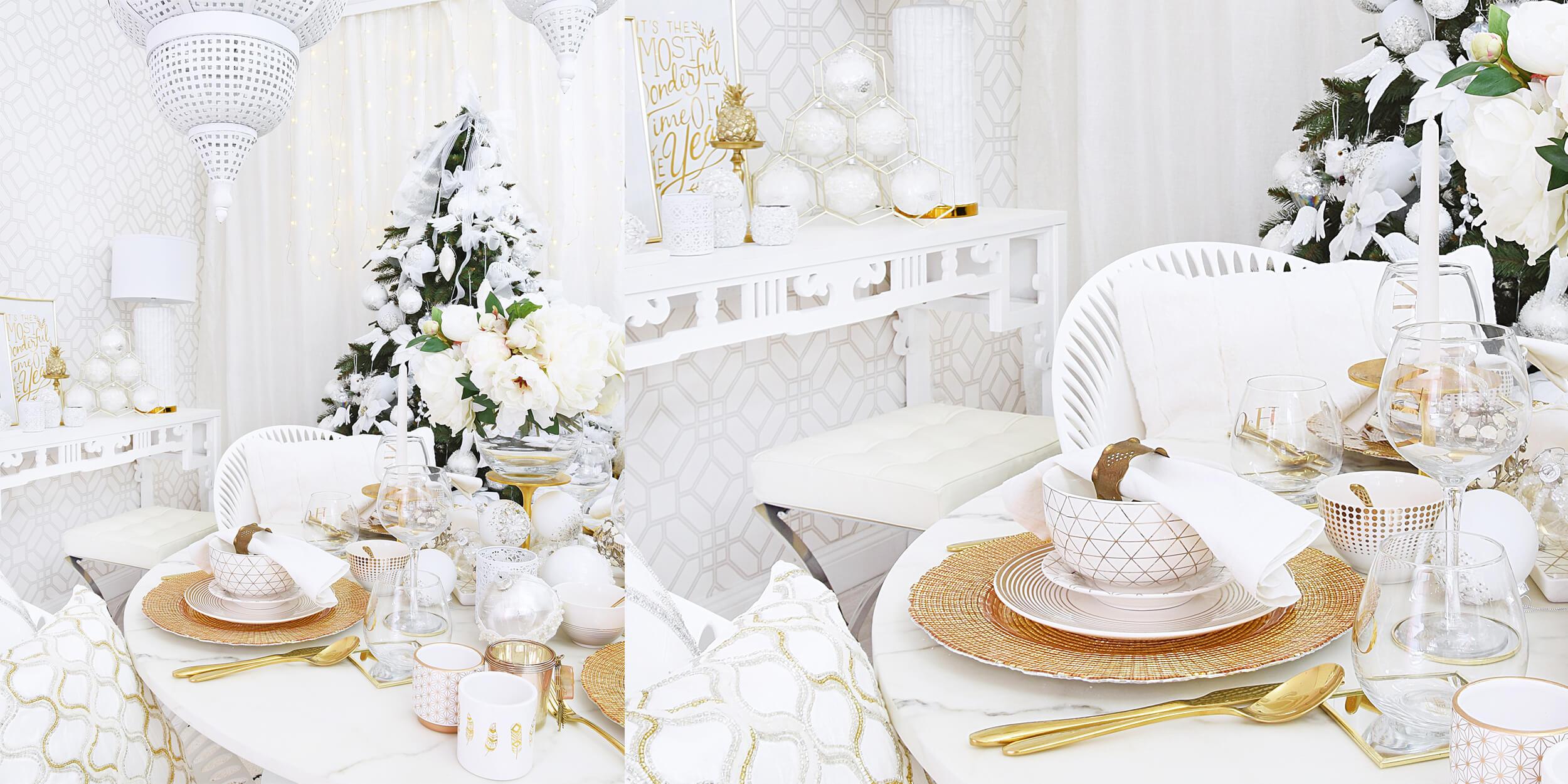 Weihnachtsdinner in edlem Gold & Weiß