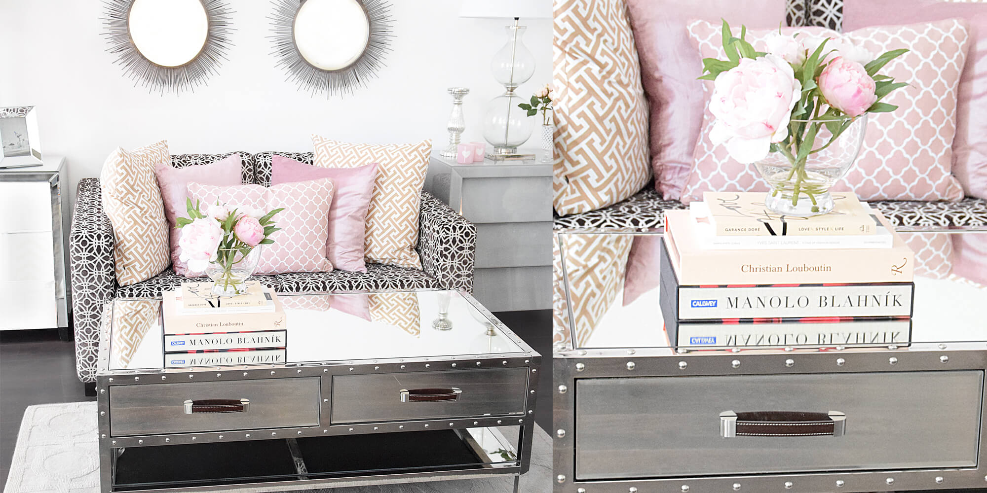 Wohnzimmer-Lounge in Rosa & Grau - #InstaShop