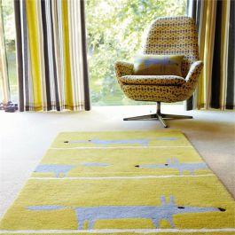 scion teppich mr fox senfgelb wollteppich 90 x 150 cm 120 x 180 cm oder 140 x 200 cm. Black Bedroom Furniture Sets. Home Design Ideas