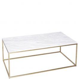 Rechteckiger Couchtisch Mit Zart Goldenem Rahmen Und Weisser Tischplatte Aus Marmor Marmor Couchtisch Weiss Gold