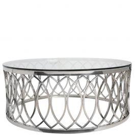 Runder Couchtisch Mit Chrom Rahmen Im Blatt Muster Und Transparenter Glas Ablageflache Silber