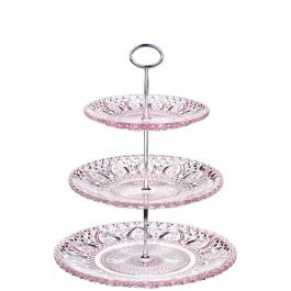 zartes etagere aus rosa glas mit verzierung gro. Black Bedroom Furniture Sets. Home Design Ideas