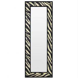 rechteckiger wandspiegel aus schwarzem rahmen mit zebra print muster aus stoff und abgeschr gtem. Black Bedroom Furniture Sets. Home Design Ideas