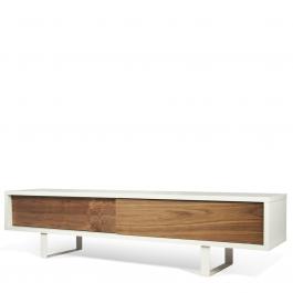 modernes tv lowboard im retro style matt wei nussbaum mit zwei f chern. Black Bedroom Furniture Sets. Home Design Ideas