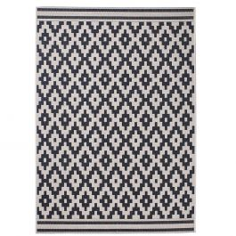 teppich mit geometrischem muster im ethno stil schwarz und sandfarben. Black Bedroom Furniture Sets. Home Design Ideas