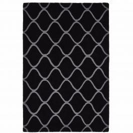 teppich aus handgetufteter wolle mit geschwungenem muster in schwarz und grau. Black Bedroom Furniture Sets. Home Design Ideas