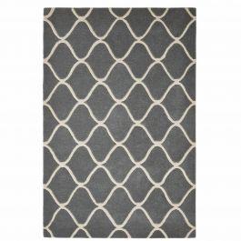 teppich aus handgetufteter wolle mit geschwungenem muster in blaugrau und cremefarben. Black Bedroom Furniture Sets. Home Design Ideas