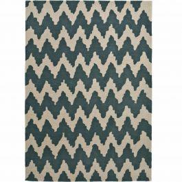 l nglicher teppich aus handgetuftetem acrylstoff mit zickzack muster in cremefarben und blau. Black Bedroom Furniture Sets. Home Design Ideas