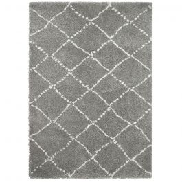kuscheliger grauer teppich aus feinem garn mit cremefarbenen linien. Black Bedroom Furniture Sets. Home Design Ideas
