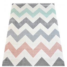 gro er teppich mit gro em zickzack muster in hellgrau rosa mint und wei. Black Bedroom Furniture Sets. Home Design Ideas