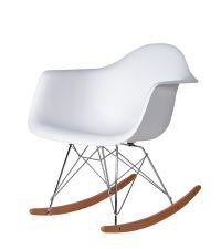 Armlehnsessel Rocking Chair im Eames-Style aus Kunststoff mit Stativfuß weiß
