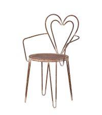 rustikaler romantischer Armlehnsessel aus Metall mit Lehne in Herzform