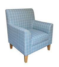 Armlehnsessel mit kariertem Wollbezug - Sessel mit Karomuster hellblau