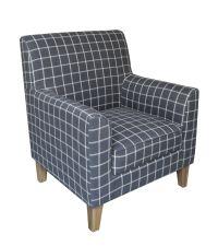 Armlehnsessel mit kariertem Wollbezug - Sessel mit Karomuster grau