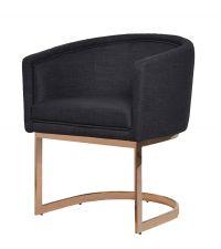 moderner freischwingender Sessel mit Metallrahmen schwarz / kupferfarben