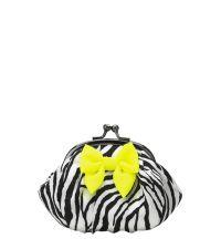 Lisbeth Dahl Kosmetiktasche Zebramuster mit Neonschleife klein