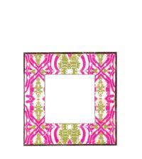 Bilderrahmen aus Horn mit Damast-Muster pink & grün