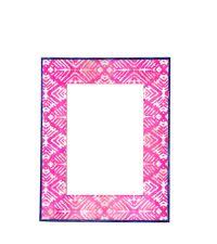 Bilderrahmen aus Horn mit Damast-Muster pink