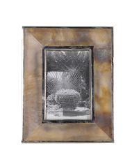 edler Bilderrahmen mit Hornrahmen & Metall-Einfassung beige