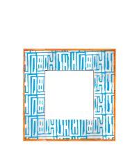 Bilderrahmen aus Horn mit geometrischem Muster orange / türkis