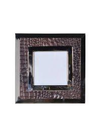 moderner quadratischer Bilderrahmen aus braunem Kunstleder in Kroko-Optik & Chrom