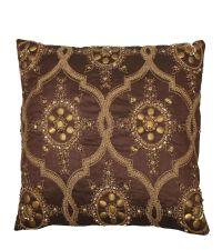 besticktes orientalisches Dekokissen braun gold
