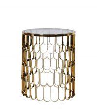 eleganter runder Beistelltisch mit Glasplatte gold