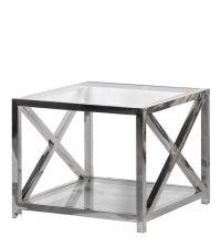 moderner quadratischer Beistelltisch mit Chromrahmen und zwei Glasplatten