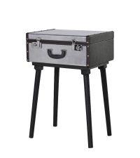 Beistelltisch oder Nachttisch im Koffer-Style silber