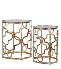 zwei runde Beistelltische im orientalischen Stil mit Lochmuster gold