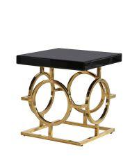 traumhafter Beistelltisch im Art-Deco Style mit schwarzer Glasplatte Füße gold