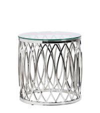 traumhafter runder Beistelltisch mit geschwungenen Formen aus Metall und Glasplatte