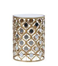runder orientalischer Beistelltisch mit Spiegelplatte & Spiegelelementen gold