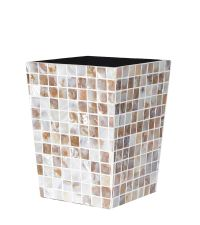 schimmernder Papierkorb in Mosaik-Optik Perlmutt beige