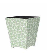 hübscher Papierkorb mit weißem Trellis-Muster mintgrün