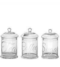 Vorratsdosen aus klarem Glas mit Gravur für Tee Kaffee oder Zucker