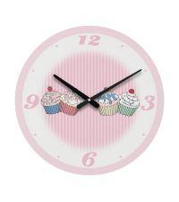 Cupcake Wanduhr Uhr rosa gestreift retro