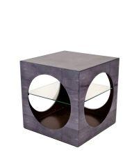Chagrin Cube Beistelltisch aus genarbtem Leder & Glas grau