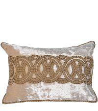 beige Dekokissenhülle aus Samt mit goldenen Perlen und geometrischem Muster
