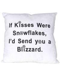 süßes Winterkissen Kissen & Snowflakes mit schwarzem Schriftzug Dekokissen weiß