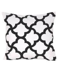 Dekokissenhülle Trellis aus weißer Baumwolle mit schwarzem Trellis-Muster